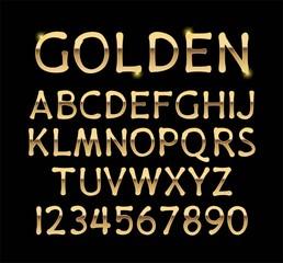 Luxurious gold alphabet vector on black background