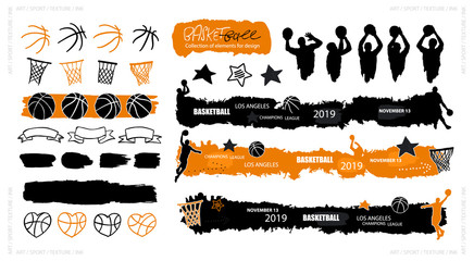 Vector basketball, grunge style, sketch. Sports elements for design banners, flyers, posters, players, balls, hoop, heart, ribbon, long text boxes, stars, backgrounds. Ink splatters. Painted objects.