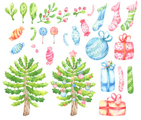 Set of hand painted watercolor illustrations cartoon style Christmas, winter themed including tree, decorations, gifts, candies, branches, berries and leaves