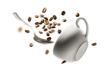 In de dag Cafe Coffee beans spoon and Cup in flight