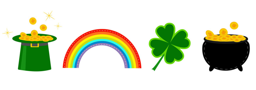Clover leaf, pot with money, green hat and rainbow. St. Patrick icon set line. Flat design. White background. Isolated.