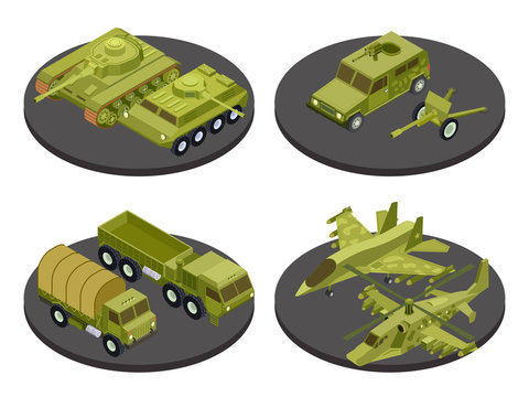 Military vehicles isometric icon set with tanks transport missile systems and artillery headlines vector illustration. Military isometric transport, 3d armored machine