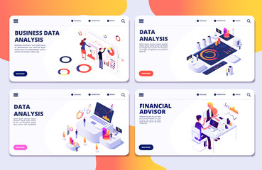 Data analysis, financial adviser, business data analysis vector landing pages template. Illustration of business financial management, analysis data