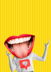 Happiness. Female body with the big mouth, red lips and white teeth as a head against yellow...