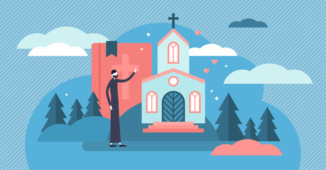 Christianity vector illustration. Tiny holy church priest persons concept.