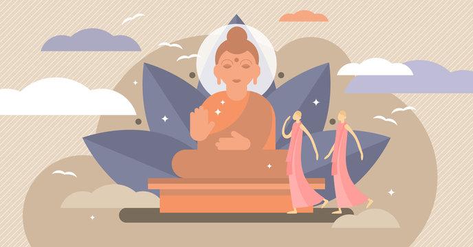 Buddhism vector illustration. Tiny karma religion symbol persons concept.