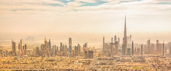 Wall Mural - Panoramic aerial view of Dubai skyline, United Arab Emirates