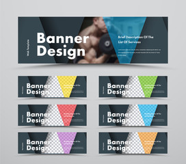 Wall Mural - Set of horizontal web banners with triangular intersecting elements and space for photo.