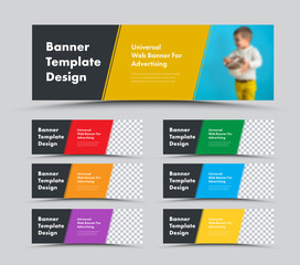 Wall Mural - Vector horizontal web banner templates with diagonal color elements and place for photo.