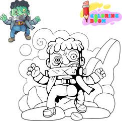 cartoon, scary, monster frankenstein, funny cute illustration