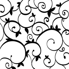 Black Paisley Outline Pattern on White Isolated. Ironwork Grill Design Idea Business Empty template for Layout for invitation greeting card promotion poster voucher