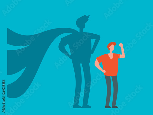 Businessman with superhero shadow flat concept  Leadership
