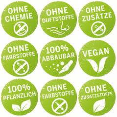 Symbole ohne chemie, farbstoffe, zusatzstoffe, vegan, duftstoffe, zusätze bio, pflanzlich vektor zerkratzt