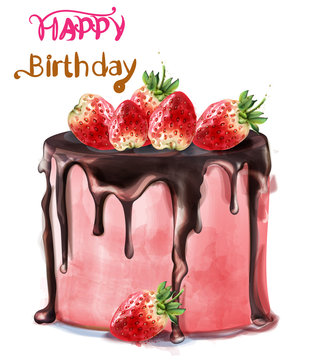 Happy birthday delicious strawberry cake Vector watercolor. Card decors