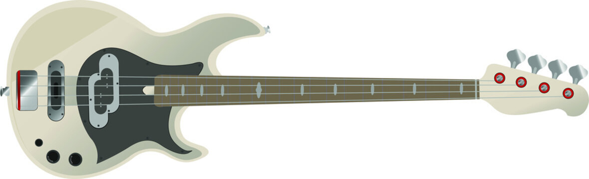 Musical instrument vector illustration. Electric bass guitar with four strings.