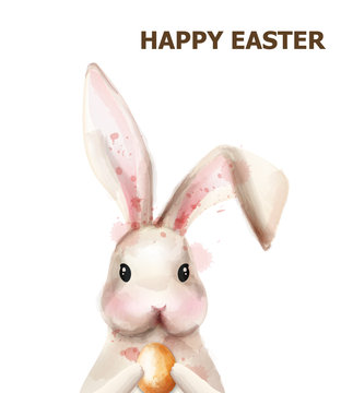 Easter bunny rabbit Vector. Cute pet holiday card isolated on whites