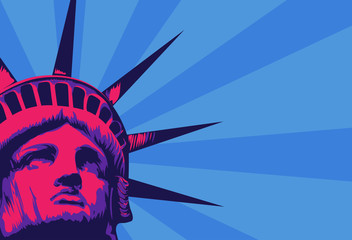 Statue of Liberty with cityscape vector image