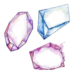 Colorful diamond rock jewelry minerals. Watercolor background set. Isolated crystal illustration