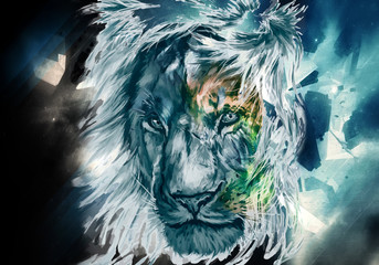 Abstract Colorful Artistic Watercolor OF A Lion Face Artwork Background