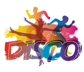 Disco dancers, dance party.  stylized colorful illustration of dancing young people with grunge stylized inscription DISCO. Isolated on white background. Vector available.