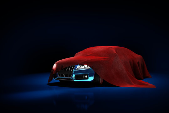 concept of presentation of the car under a red cloth in a darck blue studio 3d rendering Illustration