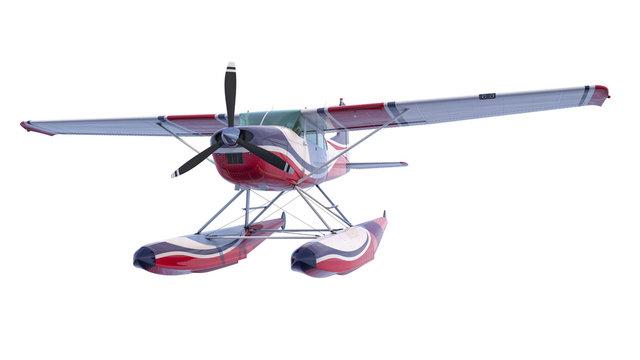 Retro seaplane illustration. 3D render