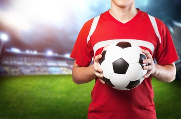 Young Male Soccer Player on white background