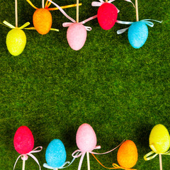 Border of colorful Easter eggs.