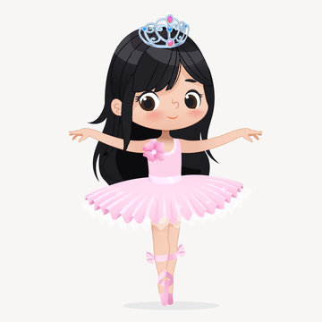 Cute Child Girl Ballerina Dancing Isolated. Caucasian Ballet Dancer Princess Character Jump Motion. Elegant Child wear Pink Tutu for School. Brunette Doll Concept Flat Cartoon Vector Illustration.