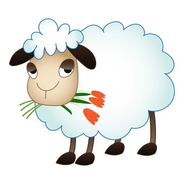Sheep eat flower icon. Cartoon of sheep eat flower vector icon for web design isolated on white background