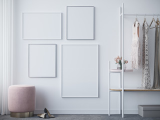 Empty white frames in wardrobe 3d render