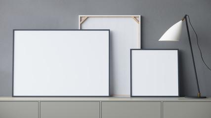 Empty frames 3d render