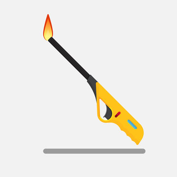Household gas piezoelectric,Gas lighter gun for kitchen,Vector flat design.