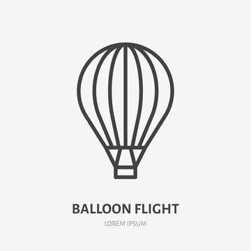 Air hot balloon flat line icon. Vector thin sign of sky transportation, flight logo. Extreme activity illustration