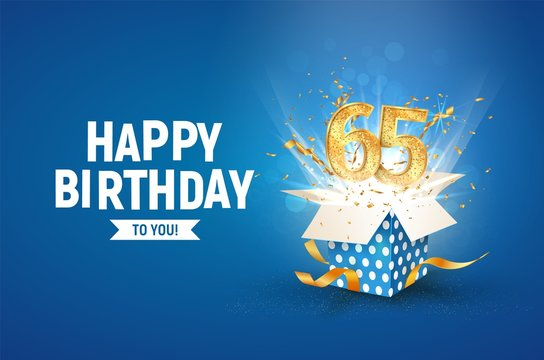 65 th years anniversary banner with open burst gift box. Template sixty fifth birthday celebration and abstract text on blue background vector Illustration