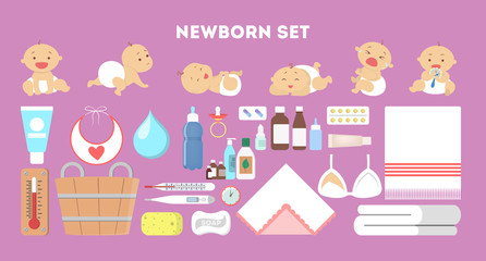 Newborn baby set. Collection of tool for child care.
