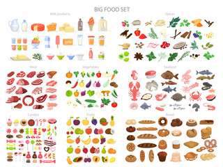 Food set. Collection of various meal, fish and meat Wall mural