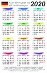 Kalender 2020 - Wasserfarben - hochkant - deutsch - mit Feiertagen (54 x 85 mm)