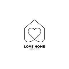 Love Home logo simple line logo template vector illustration - Vector