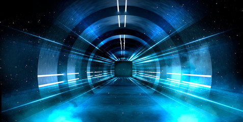 Fotomurales - Abstract tunnel, corridor with rays of light and new highlights. Abstract blue background, neon. Scene with rays and lines, Round arch, light in motion, night view.