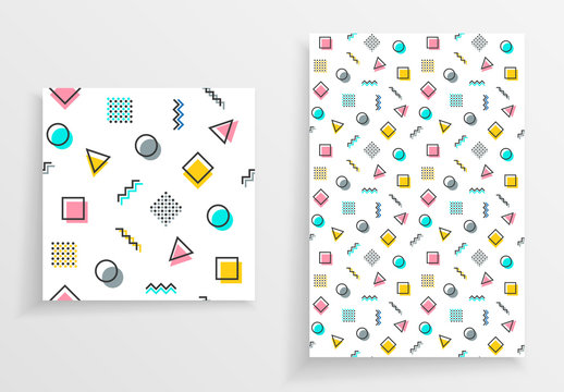 Memphis texture with colorful geometric shapes on paper background.