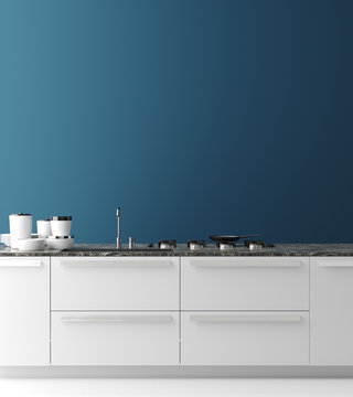 Contemporary kitchen interior, wall mock up, modern style, 3d render
