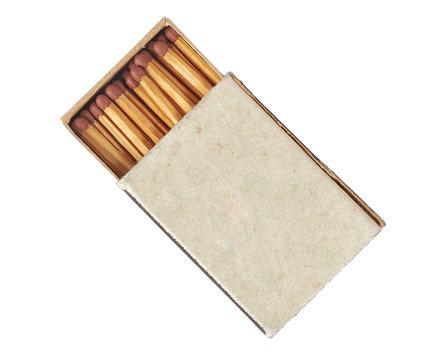 Old matchbox isolated on white background