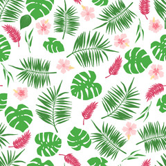 Tropical seamless pattern with exotic leaves and flowers.