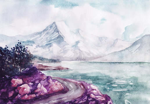 Watercolor river and mountains nature landscape vector illustration