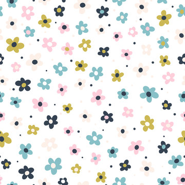 Cute seamless pattern with creative decorative flowers in scandinavian style. Great for textile, fabric, wrapper and wallpaper. Vector illustration.