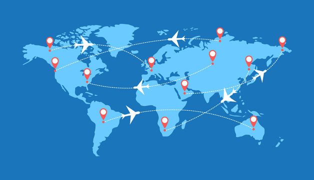 Infographics with airplanes, dotted paths and pointers on the world map. The trajectory of the route of the aircraft.
