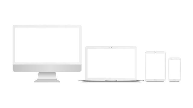 Realistic set of monitor, laptop, tablet, smartphone. White mockup of technological devices.