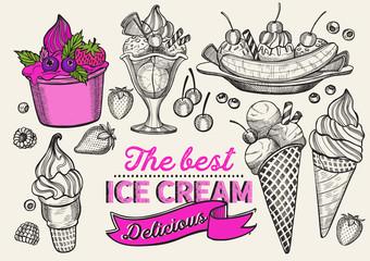 Ice cream illustration for restaurant on vintage background.