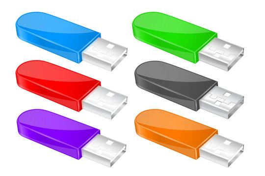 USB flash drive. Colored memory sticks